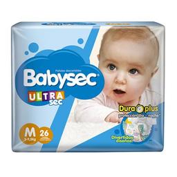 "Pañales Babysec Ultra Sec ""M"" 26 Unidades"
