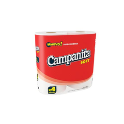 Papel Higiénico Campanita Soft Simple Hoja Paquete 4 Unidades