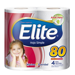 Papel Higiénico Elite Simple Hoja Paquete 4 Unidades