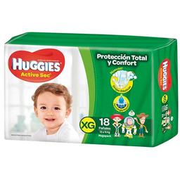 Pañal Huggies Active Sec Xg 18 U