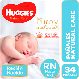 """Pañales Huggies Natural Care """"Rn"""" 34 Unidades"""
