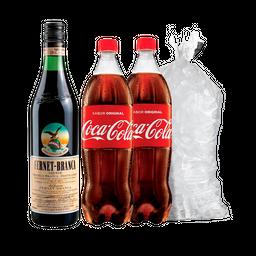 Combo Fernet Branca 1L + 2 Coca Cola 2.25L + Hielo 2kg