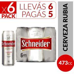 Sixpack Cerveza Rubia Schneider 473 Ml