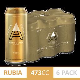 Sixpack Cerveza Andes Origen Rubia 473Ml