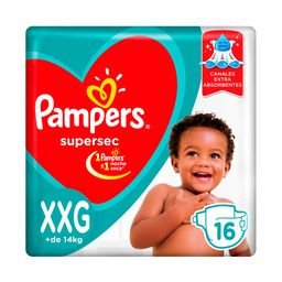 Pampers SuperSec Pañales Desechables XXG 16 Unidades