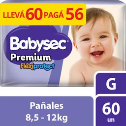 Pañales Babysec Premium Flexiprotect Talle G 60 U