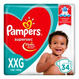 Pampers SuperSec Pañales Desechables XXG 34 Unidades