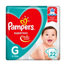 Pampers SuperSec Pañales Desechables G 22 Unidades