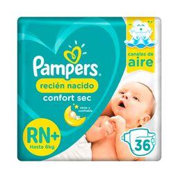 Pampers Recién Nacido Confort Sec Pañales Desechables RN+ 36u