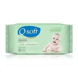 Toallitas Húmedas Q Soft Aloe Y Vitamina E Para Bebé 50 U
