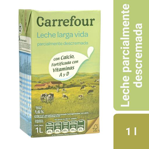 Leche Larga Vida Descremada Carrefour 1 L