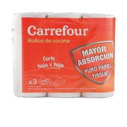 Rollo De Cocina Carrefour 3 X 40 Paños