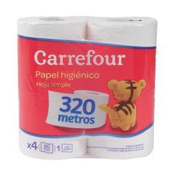 Papel Higiénico Hoja Simple Carrefour 4 X 80 M