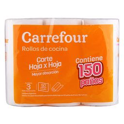 Rollo De Cocina Carrefour 3 X 50 Paños