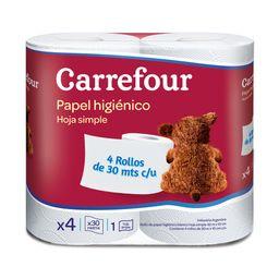 Papel Higiénico Hoja Simple Carrefour 4 X 30 M