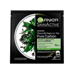 Mascarilla en tela Garnier Skin Active Pure Carbón x 1 u
