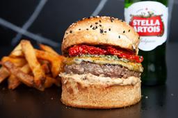 Provola Burger + Papas + Cerveza
