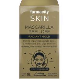 Máscara Facial Farmacity Skin Peel Off Gold X 3 Un