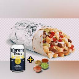 Burrito Extra Grande, 1 Cerveza Corona 269 ml y 1 Salsa