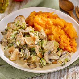 Pollo Al Wok con Puré de Calabaza