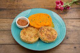 Medallones de Quinoa con zanahoria y salsa romesco