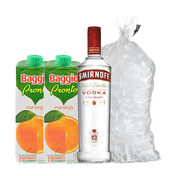 Combo Smirnoff + 2 Baggio De Naranja + 1 Bolsa De Hielo De 2 Kg