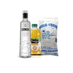 Combo Vodka Sernova 700 Ml + Jugo Cepita Naranja 1 L + Hielo 2kg