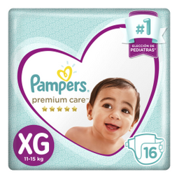 2 u Pampers - Pañales Premium Care XG X 16un