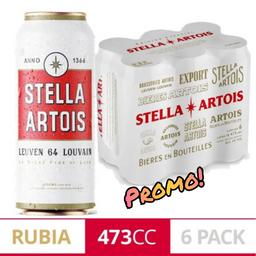Six Pack Stella Artois Rubia 473 ml