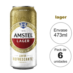 Amstel Lager 473 ml , Llevás 6 Pagas 5
