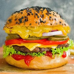 White Burger con Papas Fritas.