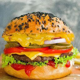 White Burger con Papas Fritas
