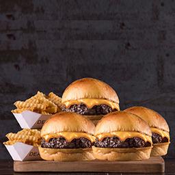 4 Cheese Burgers Simples + Papas