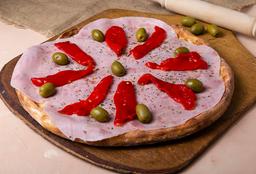 Pizza de Muzzarella con Jamón y Morrón