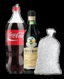 Fernet Branca 750ml + Coca Cola 2.25 L + Hielo