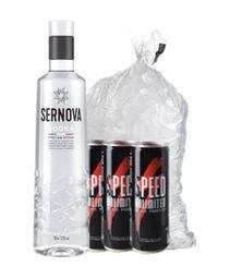Combo Vodka Sernova 750 ml + 3 Speed + 1 Bolsa De Hielo 2 Kg
