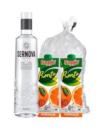 Combo Vodka Sernova 750ml + 2 Baggio Naranja + Hielo 2Kg