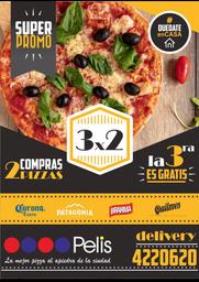 3x2 pizzas muzzarella