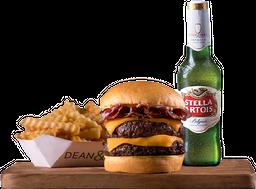 Dean Bacon Doble + Papas Clásicas + Birra